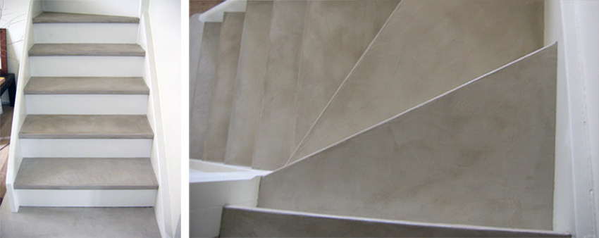 Escalier en b ton cir sofia flore molinaro for Recouvrir un escalier exterieur en beton