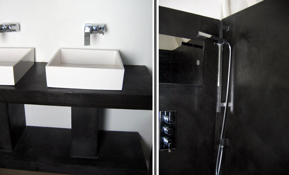 Salle de bain en béton ciré Noir
